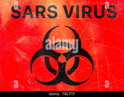 Sign indicating the presence of biohazards, refer to biological substances that pose a threat to the health of living organisms. Sars virus - Stock Photo