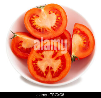 sliced tomato path isolated on white