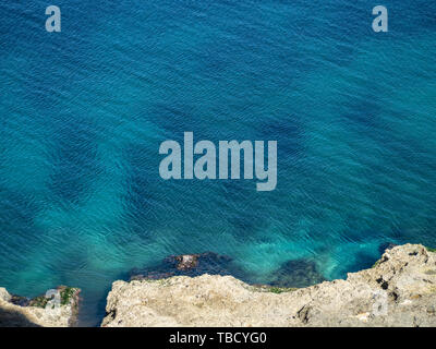 Quiet, clear blue Atlantic Ocean with tiny ripples - Stock Photo