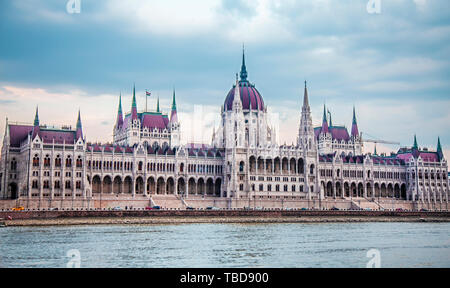 View on the Hungarian Parliament Building near the river Danube - Stock Photo