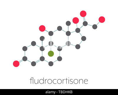 Fludrocortisone aldosterone hormone substitution drug molecule. Stylized skeletal formula (chemical structure). Atoms are shown as color-coded circles connected by thin bonds, on a white background: hydrogen (hidden), carbon (grey), oxygen (red), fluorine (green). - Stock Photo