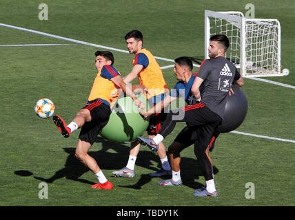 Spain's under21 national team players participate in a training session at Las Rozas Soccer City in Madrid, Spain, 31 May 2019. Spain is preparing ahead 2019 UEFA European Under-21 Championship, that will run from 16 to 30 June 2019. EFE/ Paolo Aguilar - Stock Photo