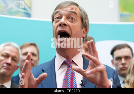 Beijing, Britain. 27th May, 2019. Brexit Party leader Nigel Farage speaks to the media at a Brexit Party event in London, Britain, on May 27, 2019. Credit: Ray Tang/Xinhua/Alamy Live News - Stock Photo