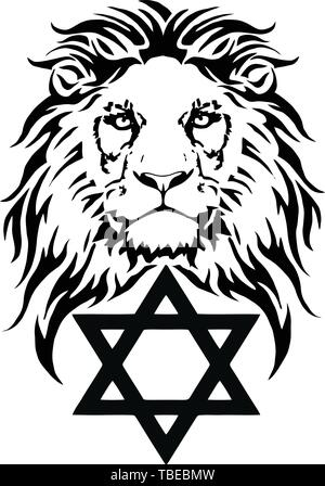 The Lion and the symbol of Judaism - star of David, Megan David, drawing for tattoo, on a white background, vector - Stock Photo