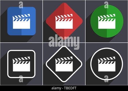 Video set of flat design web icons in 6 options - Stock Photo