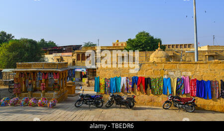 Jaisalmer, India - Nov 8, 2017. Souvenir shops at Jaisalmer Fort. Jaisalmer is a former medieval trading center and a princely state in Rajasthan. - Stock Photo