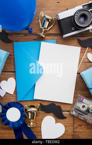 Father's day blank card background surrounded by presents and gifts - Stock Photo