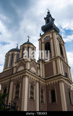 Bosnia: view of the Cathedral of the Nativity of the Theotokos in Trg Oslobodenja (Liberation Square), the largest Serbian Orthodox church in Sarajevo - Stock Photo