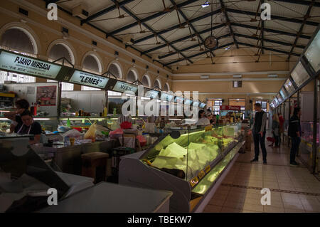 Sarajevo: inside Gradska Trznica Markale, the City Market place of Healthy Food, built in 1894 in Neo-Renaissance style and designed by August Butsch - Stock Photo