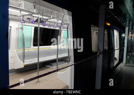 Kolkata, India. 31st May, 2019. Kolkata East West Metro train run for the first time underground during a trial run between Phoolbagan and Sealdha. Credit: Saikat Paul/Pacific Press/Alamy Live News - Stock Photo