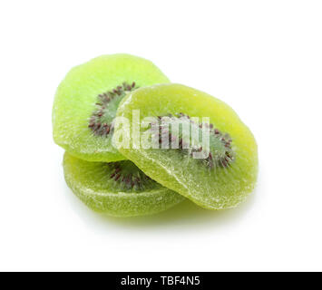 Tasty dried kiwi on white background - Stock Photo