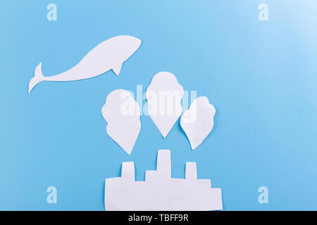 concept underwater factory. water and air pollution concept - Stock Photo