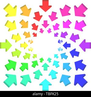 Group of arrows following a circle pointing inwards - Vector - Stock Photo
