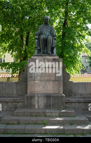 Vilnius, Lithuania. May 2019.  The statue of Jozef Montwill in the courtyard of  Vilnius Holy Church of the Assumption of the Virgin Mary - Stock Photo