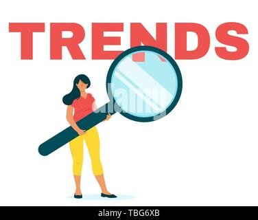 Marketer analyzing Internet trends flat web banner template. SMM, SEO, market future tendency forecasting. Female trader, business analyst with magnif - Stock Photo