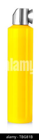 Yellow spray bottle, isolated on white background. - Stock Photo