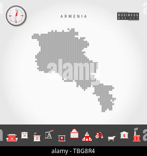 Vertical Lines Pattern Map of Armenia. Striped Simple Silhouette of Armenia. Realistic Compass. Business Infographic Icons. - Stock Photo