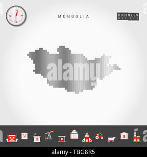 Vertical Lines Pattern Map of Mongolia. Striped Simple Silhouette of Mongolia. Realistic Compass. Business Infographic Icons. - Stock Photo