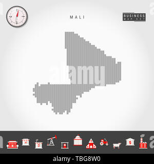 Vertical Lines Pattern Map of Mali. Striped Simple Silhouette of Mali. Realistic Compass. Business Infographic Icons. - Stock Photo