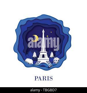 PARIS city of France in digital craft paper art. Night scene. Travel and destination landmark concept. Papercraft style - Stock Photo