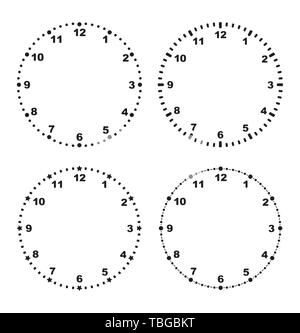 Set of 4 modern clock faces blank templates for your design. - Stock Photo