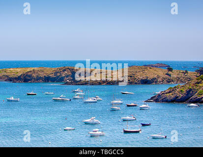 Bay and boats in the port of Cadaques, Costa Brava, province Girona, Catalonia, Spain. This fishing village lived facing the sea and separated by land - Stock Photo