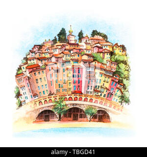 Menton Old Town, France - Stock Photo