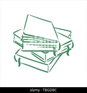 Vector Hand drawn sketch of books illustration on white background - Stock Photo