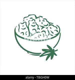 Vector hand drawn cannabis soft candies gummies illustration on white background - Stock Photo