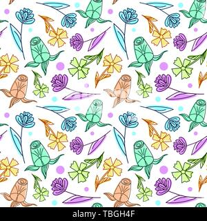 Light floral seamless pattern color for kids - Stock Photo