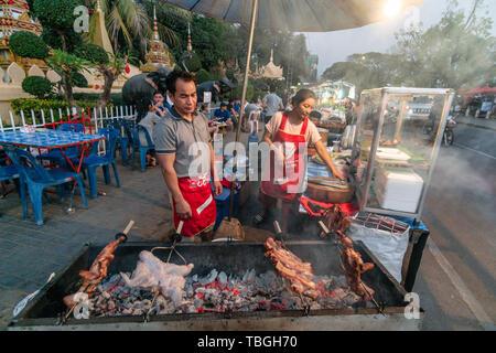 Food stall on main street in Vientiane, night market, Laos