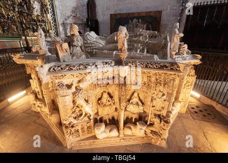 Burgos, Spain - April 13, 2019: Interior of Gothic monastery Cartuja de Miraflores in Burgos, Castilla y Leon, Spain. - Stock Photo