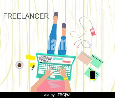 Freelance concept of job at home. Vector of woman working on laptop in comfortable conditions. - Stock Photo