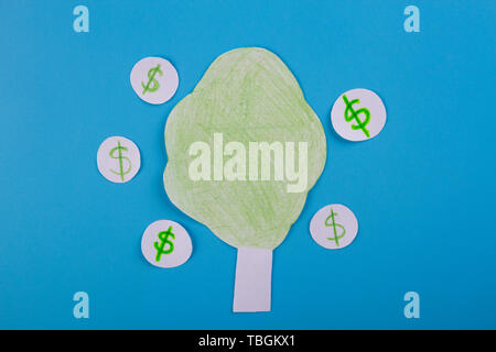 cartoon image of money tree. dollar - Stock Photo