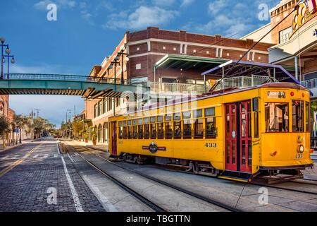 Ybor City Tampa Bay, Florida. January 19 , 2019  Streetcar close to Ybor Centro Station.