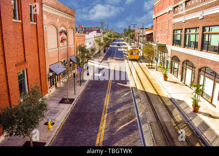 Ybor City Tampa Bay, Florida. January 19 , 2019  Top view of streetcar in 8th Ave.