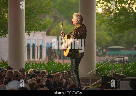 Orlando, Florida . March 27, 2019. Graham Rusell by Air Supply playing guitar is Special Show at Epcot in Walt Disney World . - Stock Photo
