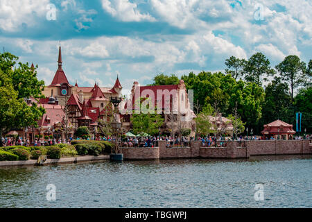Orlando, Florida . March 27, 2019.  Panoramic view of  Germany Pavilion and blue lake at Epcot in Walt Disney World (70) - Stock Photo