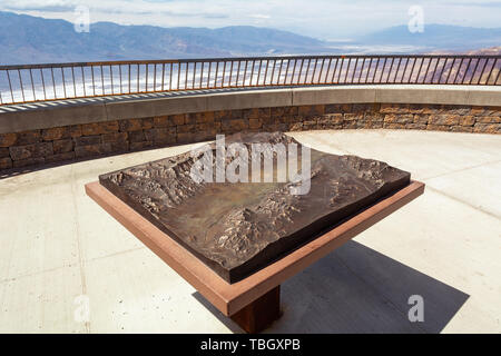 DEATH VALLEY, CALIFORNIA, USA - April 4, 2019: Model of Badwater Basin and mountains on Dante's View point. California, USA - Stock Photo