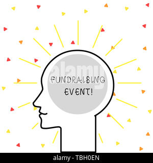 Conceptual hand writing showing Fundraising Event. Concept meaning campaign whose purpose is to raise money for a cause Outline Silhouette Human Head  - Stock Photo