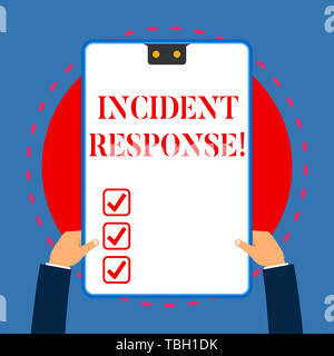 Handwriting text writing Incident Response. Conceptual photo addressing and analysisaging the aftermath of a security breach White rectangle clipboard - Stock Photo