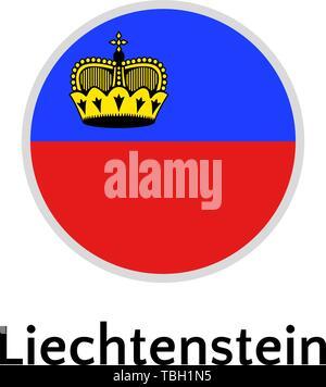 Liechtenstein flag round flat icon, european country vector illustration - Stock Photo