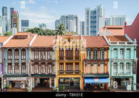 SINGAPORE-JUN 3 2017:Singapore traditional shophouses - Stock Photo