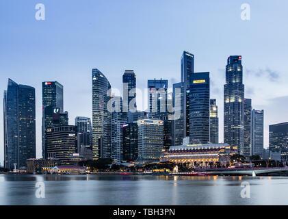 SINGAPORE-JUN 07 2017:Singapore Marina bay city core area skyline - Stock Photo