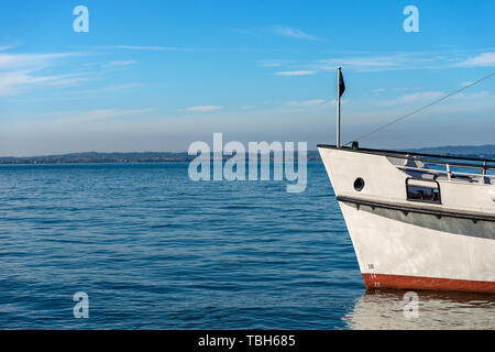 Prow of a ferry boat in the Lake Garda (Lago di Garda) in front of the port of Lazise, small town in Veneto, Italy, Europe - Stock Photo