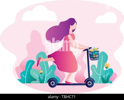 Flat vector concept illustration of a purple-haired girl riding a scooter in the park with flowers in a basket. On the background there is a pink suns - Stock Photo