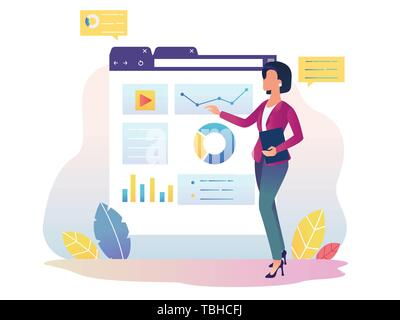 Financial analytics. Girl with Interactive Display - Stock Photo