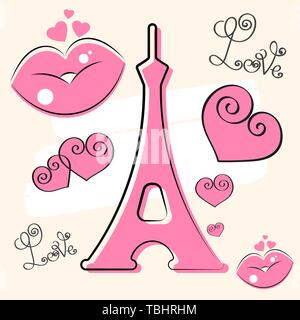 Paris Hand Drawn Vector Lettering And Eiffer Tower. Brush . Design Element For Cards, Banners, Flyers, Paris Lettering Isolated On White Background. - Stock Photo