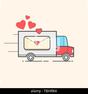 Card Of A Valentine s Day. Red Truck With Hearts. Love - Lettering Quote. Humor Poster, T-shirt Composition, Hand Drawn Style Print. Vector - Stock Photo
