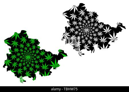 Thuringia (Federal Republic of Germany, State of Germany) map is designed cannabis leaf green and black, Thuringia map made of marijuana (marihuana,TH - Stock Photo
